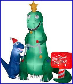 Christmas 7 Ft T Rex Dinosaur Santa Sign Airblown Inflatable Yard Gemmy