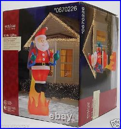 Christmas 8.5 ft Lighted Fire & Ice Santa with Jetpack Airblown Inflatable NIB