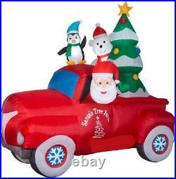Christmas 8 Ft Santa Pickup Truck Tree Farm Airblown Inflatable Yard Gemmy