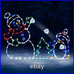 Christmas ANIMATED ILLUMINATED Snowman Snowball Fight Outdoor Yard Decoration