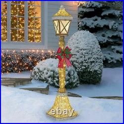 Christmas Decorations Street Lamp & Bow With 120 LED Lights 6ft (1.8m) Gold