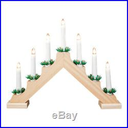 Christmas Electric Pine Wooden Window Table Fireplace Candle Bridge Light Lamp