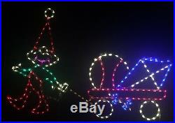 Christmas Elf with Toys in Wagon Outdoor LED Lighted Decoration Steel Wireframe