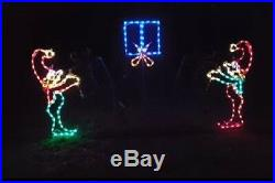 Christmas Elves Tossing Gift Xmas Outdoor LED Lighted Decoration Steel Wireframe