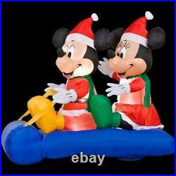 Christmas Gemmy Disney 5 ft LED Mickey & Minnie Mouse Sled Scene Inflatable NIB