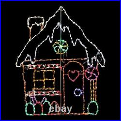 Christmas Gingerbread Candy House LED Light Display Outdoor Yard Art Decoration