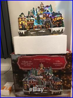 Christmas LED Winter Village Scene Rotating Train & Tree 14.5 (37 cm)