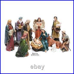 Christmas Nativity Set Scene 12 Pcs Figurines Colored Holy Family Holiday Decor