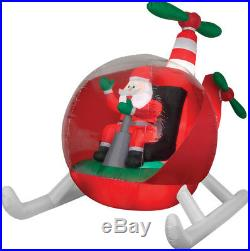 Christmas Santa Animated Helicopter Chopper Airblown Inflatable 9 Ft