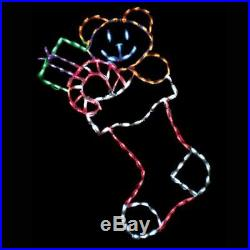 Christmas Stocking with Toys Outdoor LED Lighted Decoration Steel Wireframe