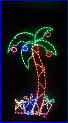 Christmas Tall Palm Tree w Gifts Outdoor LED Lighted Decoration Steel Wireframe