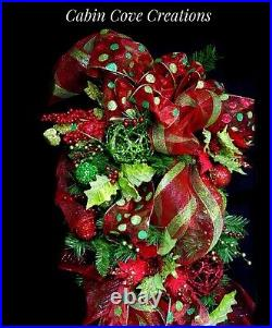 Christmas Teardrop Door Swag Wreath PRO DECORATED HUGE 5 red lime green