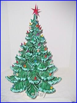 Christmas Tree Ceramic 24x17 Atlantic Mold 62+ Multi-Colored Lights Green withSnow