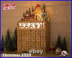Christmas Village Wooden Advent Calendar LED Light Xmas Holiday Reindeer Decor