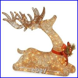 Christmas Xmas Gold Deer Reindeer Pre Lit Outdoor Yard Decor Lighted Decoration