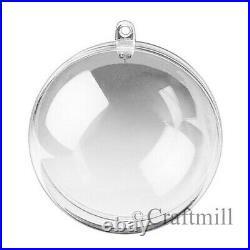 Clear PLASTIC CRAFT Balls 2-part Spheres Baubles Favours Wedding Xmas