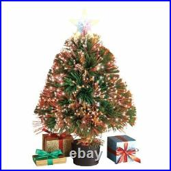 Color Changing Fiber Optic Table Top Artificial Christmas Tree