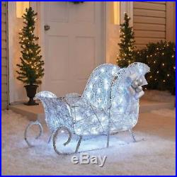 Cool White Lighted Twinkling 36 Sleigh Sculpture Outdoor Christmas Decoration