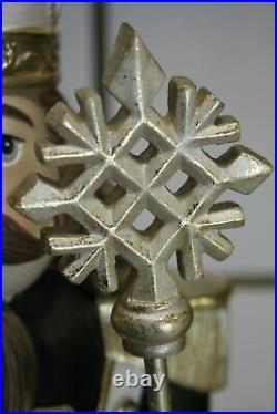 Cor Mulder Nußknacker Schwarz Gold Weihnachtsdeko Zepter Schneeflocke 67cm NEU