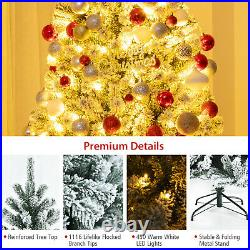 Costway 7' Pre-lit Snow Flocked Hinged Christmas Tree with1116 Tips & Metal Stand