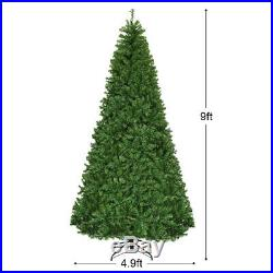 Costway 9Ft Pre-Lit Artificial Christmas Tree Hinged 1000 LED Lights