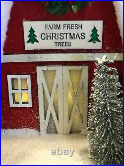 Cracker Barrel Light-Up LED Christmas Barn Putz House NIB