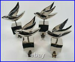Crate and Barrel Set of 4 Silver Dove Christmas Stocking Holder Hangers