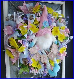 Darling Yellow floral Garden Gnome Spring Deco Mesh Front Door Wreath Home Decor
