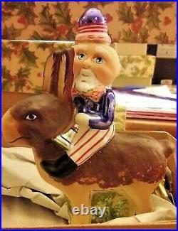 Debbee Thibault-Glass Holiday Ornament Yankee Doodle Rides a Rabbit Clpon Rare