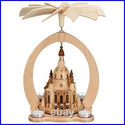 Design-Pyramide Teelicht Frauenkirche Dresden Erzgebirge Seiffen Zeidler 0639