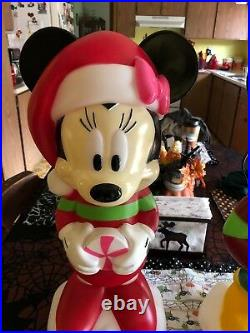 Disney Mickey and Minnie Christmas Lighted Blow Mold Set New Too Cute