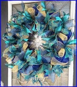 Elegant Peacock Deco Mesh Front Door Wreath Spring Summer Home Decor Decoration