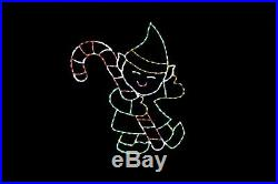 Elf with Candy Cane LED light wire frame metal Christmas outdoor display