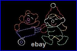 Elf with Wheel'Bear' O LED light metal wire frame outdoor Christmas display