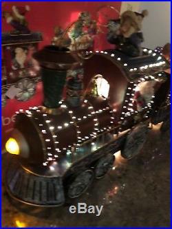 FIBER OPTIC LIGHTED CHRISTMAS SANTA TRAIN 20 Long Bears Candy Cane Tree Metal
