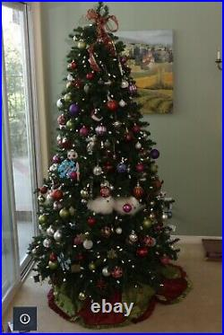 FRONTGATE Christmas Tree Pre Lit 7 1/2 Slim profile with Rolling Stand & Cover