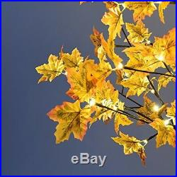 Fake Fall Tree Artificial Maple Orange with LED Lights Indoor Lighted False NEW