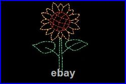 Fall Sunflower LED light display outdoor metal wireframe yard decoration