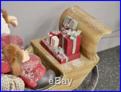 Father Christmas & Sleigh With Reindeer Large Festive Decoration Ornament Figure