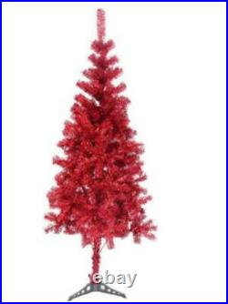 Fawyn 6' Ft Sparking Gorgeous Folding Artificial Tinsel Christmas Tree Red Color