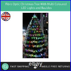 Fibre Optic Christmas Xmas Tree With Colour LED Lights & Star Topper 4ft 5ft 6ft