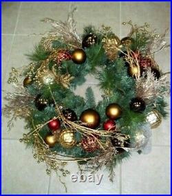 Frontgate Golden Christmas Artistry 30 Christmas Glass ornament Door Wreath