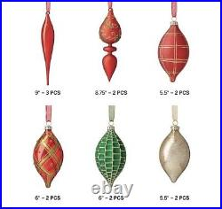 Frontgate Holiday Tidings 60 Piece Ornament Set Red Green Gold Hand Blown