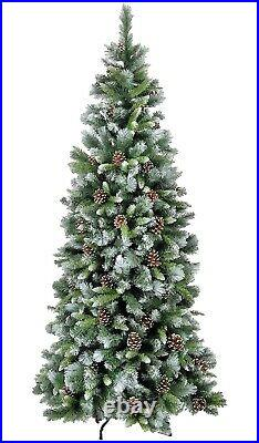 Frosted Glacier Hook on with Cones Artificial Christmas Tree 7.4ft 225cm