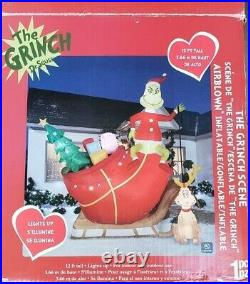 Gemmy 12ft Grinch on Sleigh with Max Lighted Inflatable