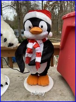 Gemmy 3 Piece Animated Dancing & Singing Christmas Band Polar Bear & Penguins