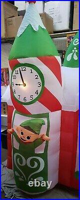 Gemmy 7.5ft Wide Santa's Animated Workshop Scene Christmas Inflatable