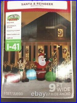 Gemmy Airblown Inflatable Santa Reindeer Ornaments Clusters Scene 9' NEW