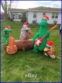 Gemmy Christmas Airblown Inflatable Swamp Bayou Musical Band Crocodile Possum