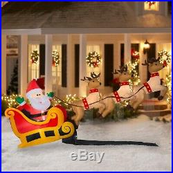 Gemmy Industries Yard Inflatables Floating Santa Sleigh with Reindeer 6 ft New